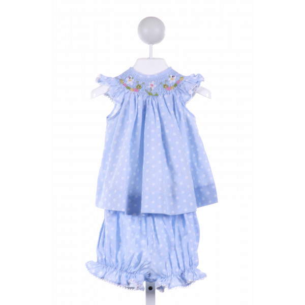 AMANDA REMEMBERED  LT BLUE  POLKA DOT SMOCKED 2-PIECE OUTFIT WITH PICOT STITCHING