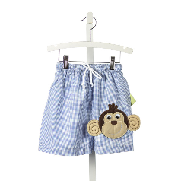 ZUCCINI BLUE GINGHAM SWIM TRUNKS WITH MONKEY APPLIQUE