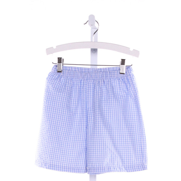 BLANKS BOUTIQUE  BLUE SEERSUCKER GINGHAM  SHORTS