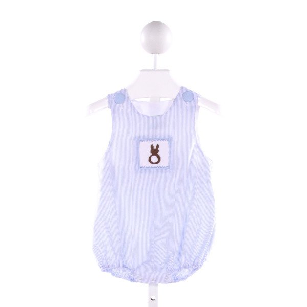 SAGE & LILLY  BLUE  STRIPED SMOCKED BUBBLE