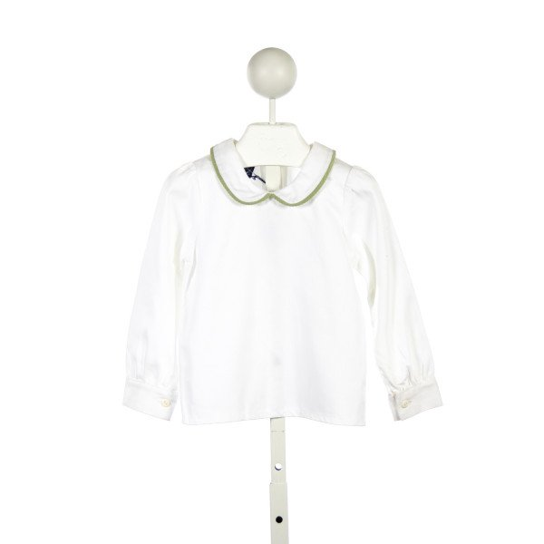 CHE WHITE BLOUSE WITH GREEN TRIM ON COLLAR