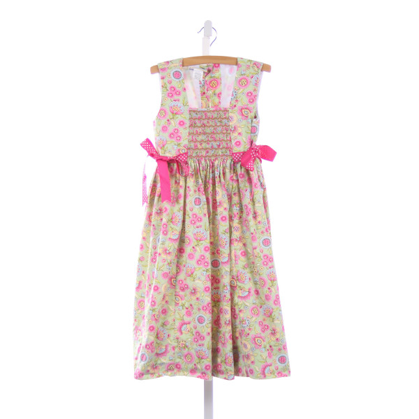 FANCY THREADS PINK AND GREEN FLORAL SMOCKED DRESS