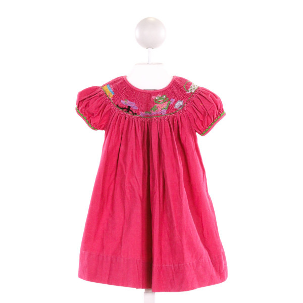 FANCY THREADS  HOT PINK CORDUROY  SMOCKED DRESS WITH RIC RAC
