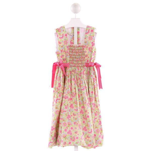 FANCY THREADS  MULTI-COLOR  FLORAL SMOCKED DRESS WITH RUFFLE