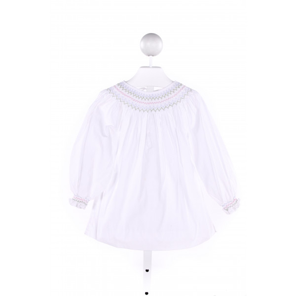 CASTLES & CROWNS  WHITE   SMOCKED CLOTH LS SHIRT WITH RUFFLE