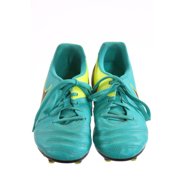 NIKE BLUE AND NEON YELLOW CLEATS *SIZE 4.5, VGU - A COUPLE DISCOLORATIONS
