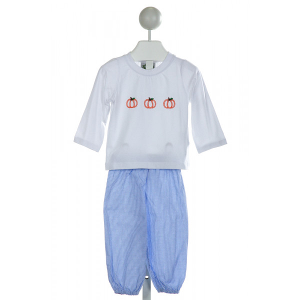 SMOCKED THREADS CECIL & LOU  WHITE  GINGHAM EMBROIDERED 2-PIECE OUTFIT