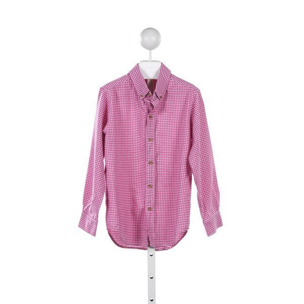 KELLYS KIDS PINK GINGHAM BUTTON DOWN SHIRT *SIZE 7-8