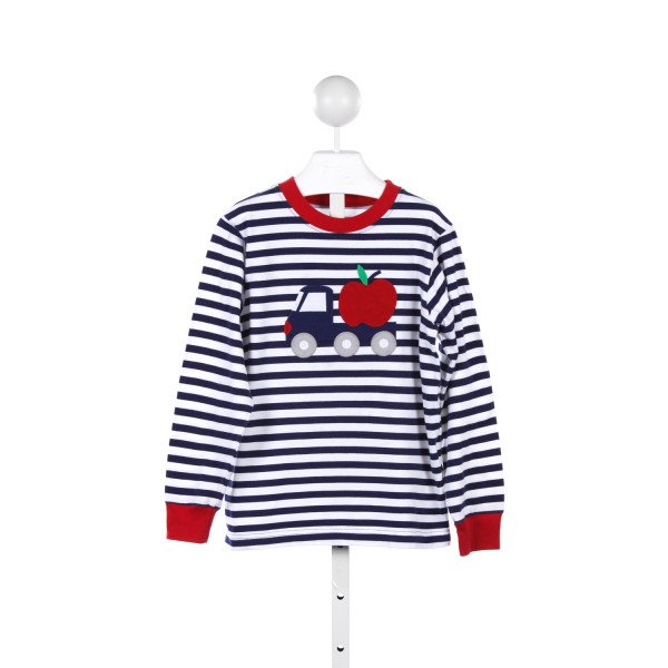 KELLYS KIDS BLUE AND WHITE STRIPED KNIT SHIRT WITH TRUCK AND APPLE APPLIQUE *7-8 *A FEW FAINT SPOTS ON SHIRT