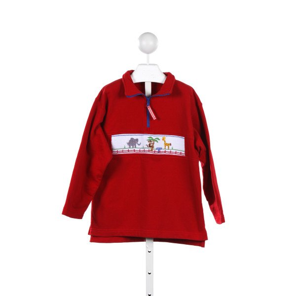 KELLYS KIDS RED PULLOVER WITH SMOCKED ZOO ANIMALS *SIZE 7-8 *SMALL FAINT SPOT ON FRONT, HARD TO SEE
