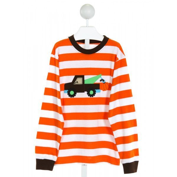 KELLY'S KIDS  ORANGE  STRIPED EMBROIDERED KNIT LS SHIRT