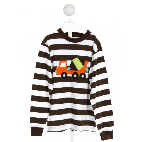 KELLY'S KIDS  BROWN  STRIPED EMBROIDERED KNIT LS SHIRT