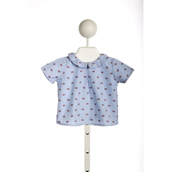LEON BLUE TOP WITH TINY RED FISH *SIZE 6-9M