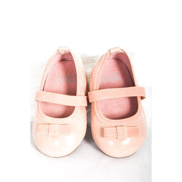 STUART WEITZMAN PINK SHOE WITH BOWS INFANT SIZE 2