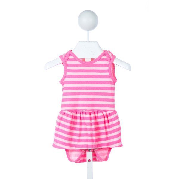 J. CREW (CREWCUTS) PINK STRIPED KNIT BUBBLE ONESIE *SIZE 3-6M