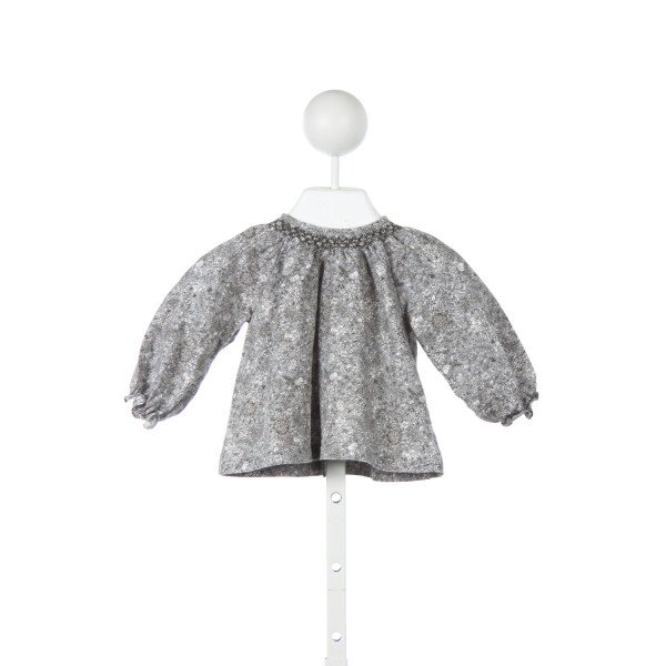 PETITE LUCETTE GRAY AND IVORY FLORAL SMOCKED TOP