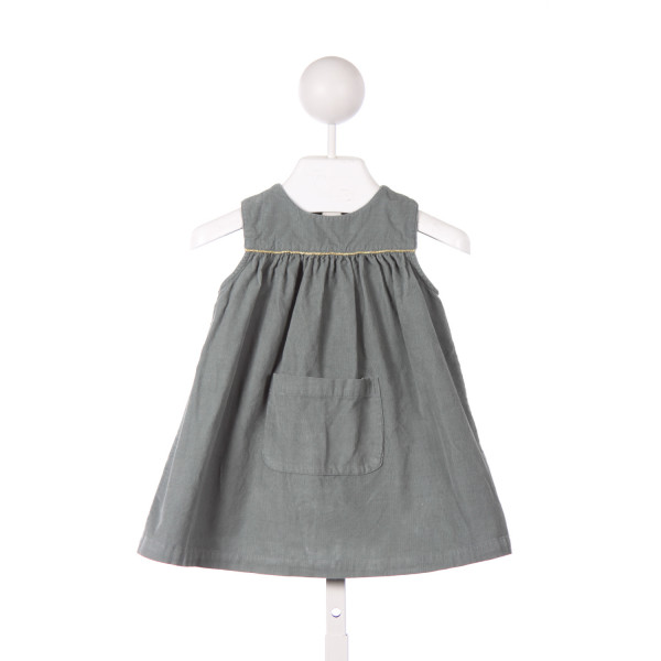 PETITE LUCETTE SAGE GREEN CORD DRESS WITH GOLD PIPING