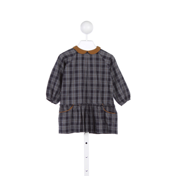 PETITE LUCETTE NAVY AND GRAY PLAID DRESS WITH LIGHT BROWN TRIM