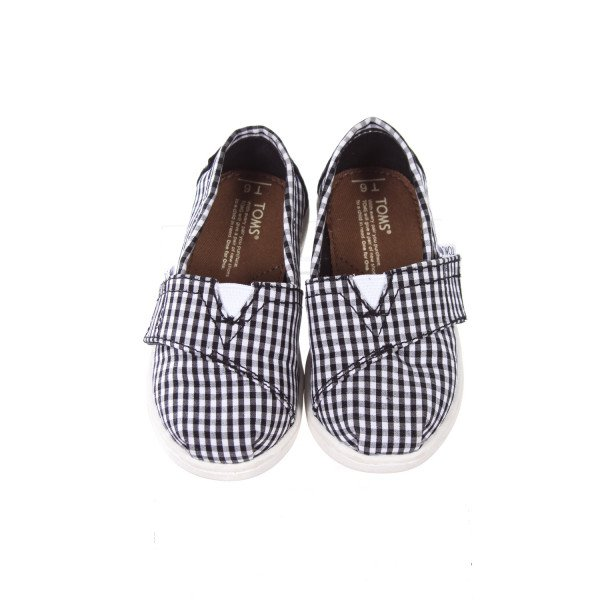 TOMS BLACK AND WHITE GINGHAM SHOES TODDLER SIZE 6