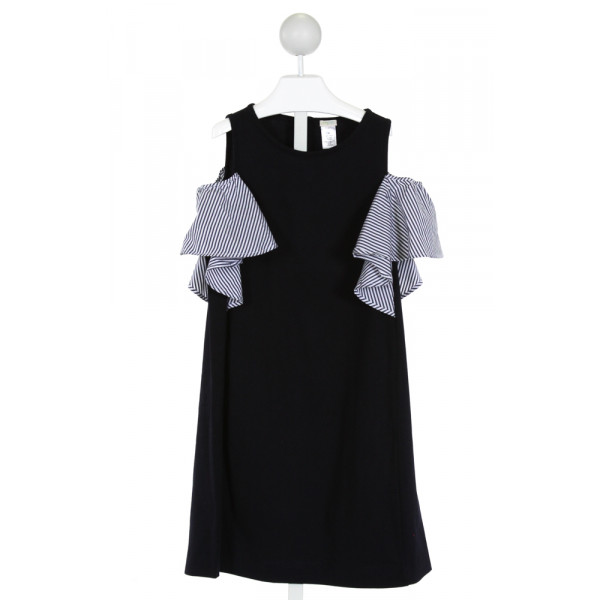 CREWCUTS  NAVY    KNIT DRESS WITH RUFFLE