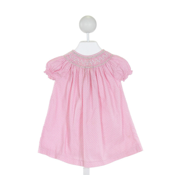 EMILY LACEY  PINK  FLORAL SMOCKED DRESS WITH RUFFLE