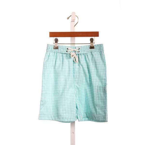 EYELET & IVY AQUA CHECK SWIM TRUNKS