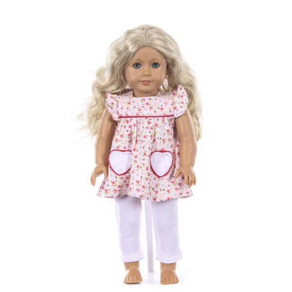 EYELET & IVY PINK FLORAL AND BITTY DOT KNIT SET WITH HEART POCKETS (AMERICAN GIRL DOLL NOT INCLUDED)