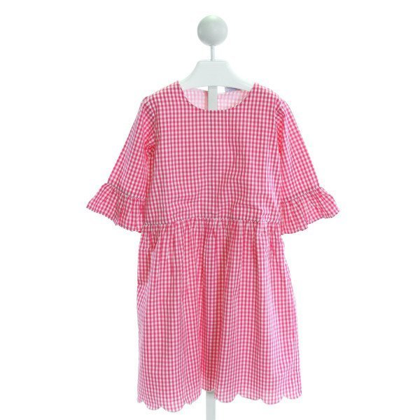 EYELET & IVY  HOT PINK  GINGHAM  DRESS WITH RUFFLE