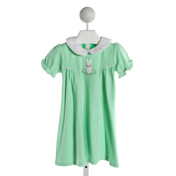 EYELET & IVY  MINT   EMBROIDERED KNIT DRESS WITH RUFFLE