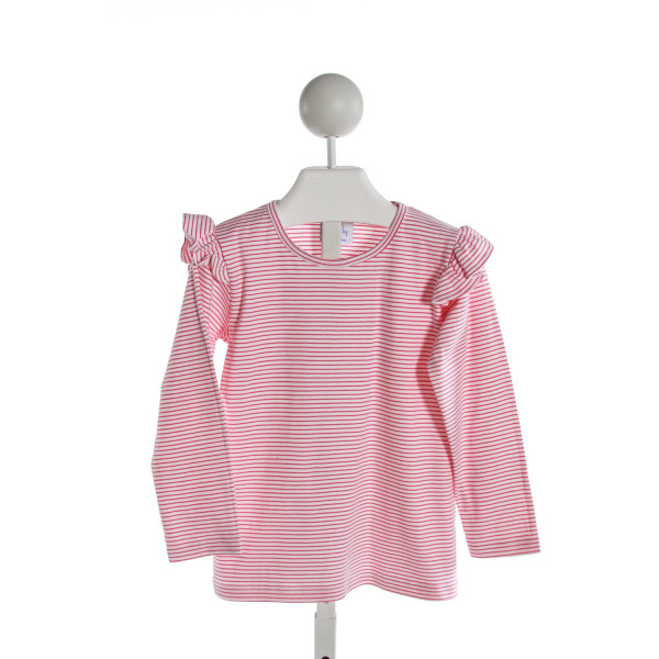 EYELET & IVY  HOT PINK  STRIPED  KNIT LS SHIRT WITH RUFFLE