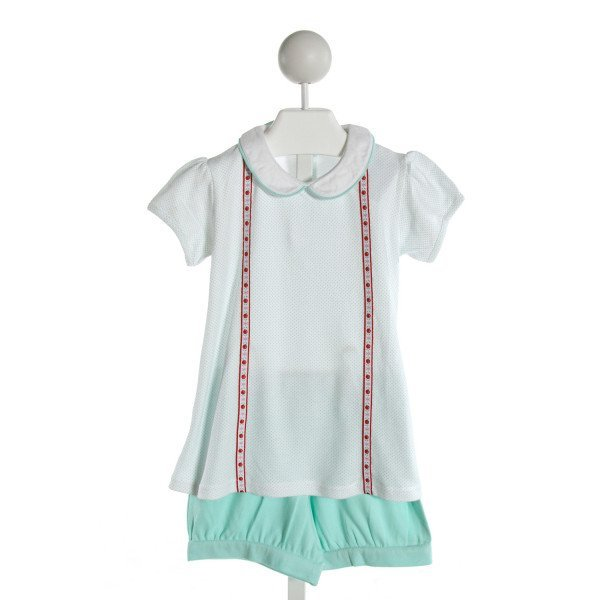 EYELET & IVY  AQUA  POLKA DOT EMBROIDERED 2-PIECE OUTFIT WITH RUFFLE