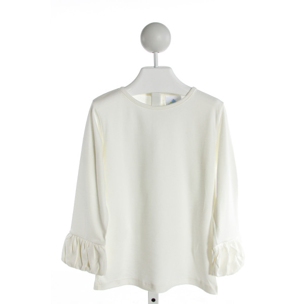 EYELET & IVY  IVORY    KNIT LS SHIRT WITH RUFFLE