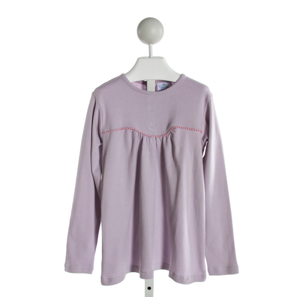 EYELET & IVY  LT PURPLE   EMBROIDERED KNIT LS SHIRT
