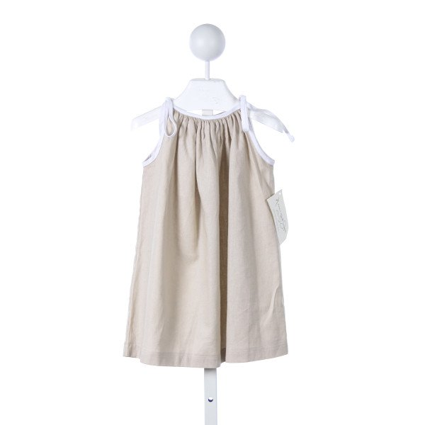NAIN & JOE KHAKI LINEN DRESS WITH WHITE TRIM