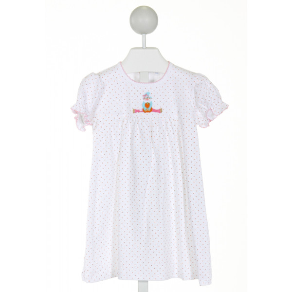 EYELET & IVY  WHITE  POLKA DOT EMBROIDERED KNIT DRESS WITH PICOT STITCHING