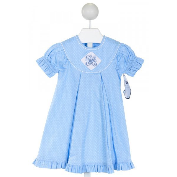 BEAUX ET BELLES  LT BLUE  POLKA DOT SMOCKED DRESS WITH RUFFLE