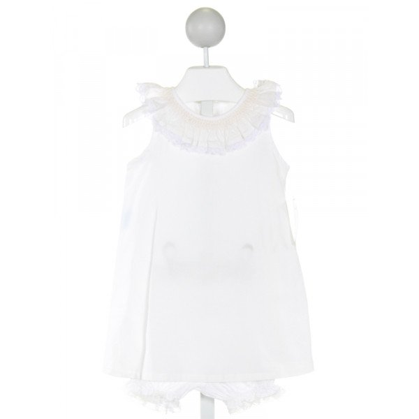 REMEMBER NGUYEN  OFF-WHITE   SMOCKED 2-PIECE OUTFIT WITH LACE TRIM