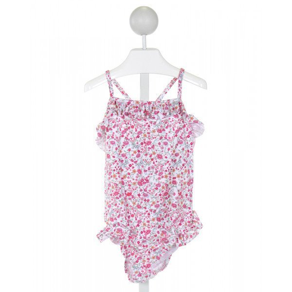CHARMING MARY  PINK  FLORAL  1-PIECE SWIMSUIT WITH RUFFLE
