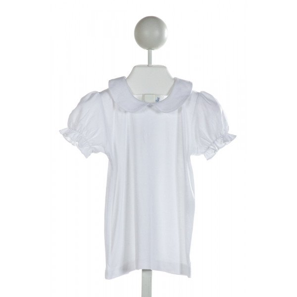 THE BUBBLE BEE  WHITE    KNIT SS SHIRT WITH RUFFLE