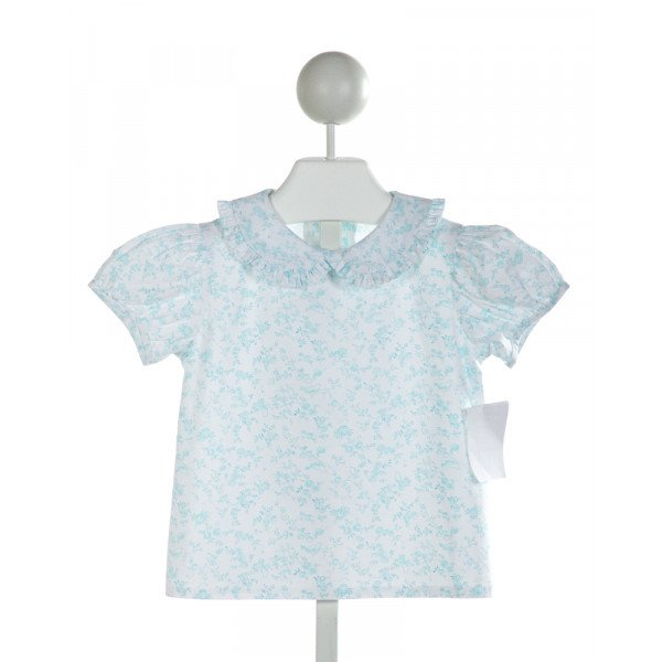 TWO GIRLS AND A BOY  OFF-WHITE  FLORAL  CLOTH SS SHIRT WITH RUFFLE