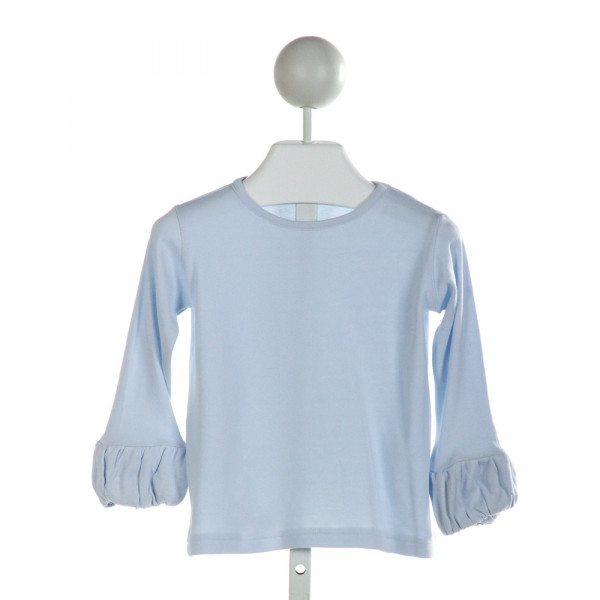 EYELET & IVY  LT BLUE    KNIT LS SHIRT WITH RUFFLE