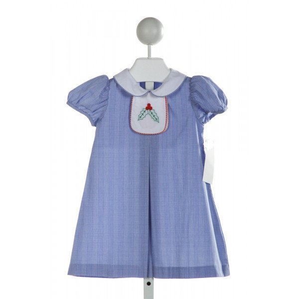 SHRIMP & GRITS  BLUE  PLAID EMBROIDERED DRESS