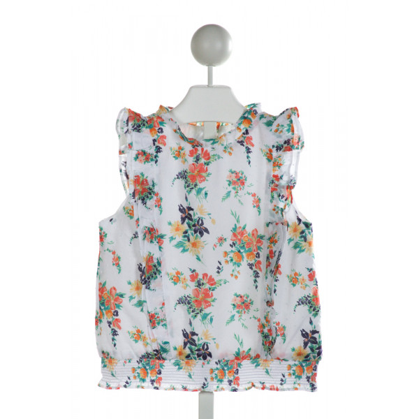 JANIE AND JACK  WHITE SWISS DOT FLORAL SMOCKED CLOTH SS SHIRT WITH RUFFLE