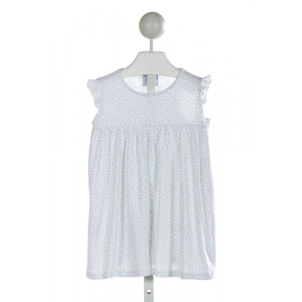 EYELET & IVY  WHITE  FLORAL  KNIT DRESS WITH EYELET TRIM