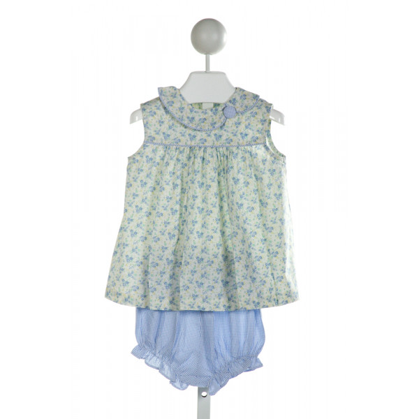 BLUE BUMBLEBEE  OFF-WHITE  FLORAL  2-PIECE OUTFIT WITH RUFFLE