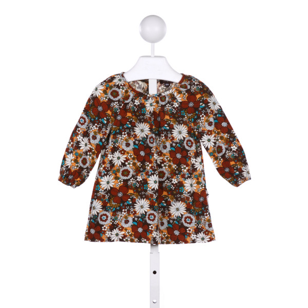 IMOGA  BROWN CORDUROY FLORAL  CASUAL DRESS