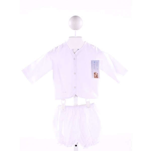 SWEET ANGELA  WHITE   EMBROIDERED 2-PIECE OUTFIT WITH RUFFLE