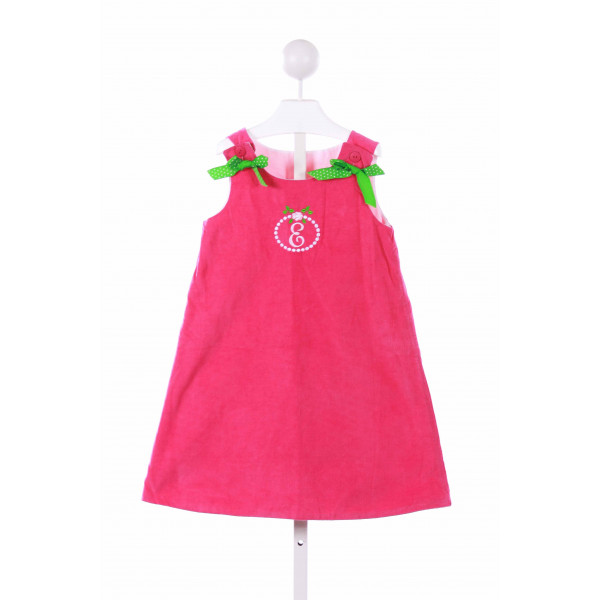 TIMELESS TOT  HOT PINK CORDUROY  EMBROIDERED CASUAL DRESS