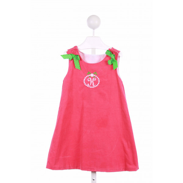 TIMELESS TOT  PINK CORDUROY  EMBROIDERED CASUAL DRESS