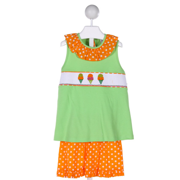 DELANEY  MULTI-COLOR  POLKA DOT SMOCKED 2-PIECE OUTFIT